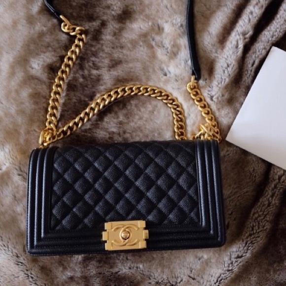 CHANEL Handbags - CHANEL Le Boy Black Caviar Gold Hardware